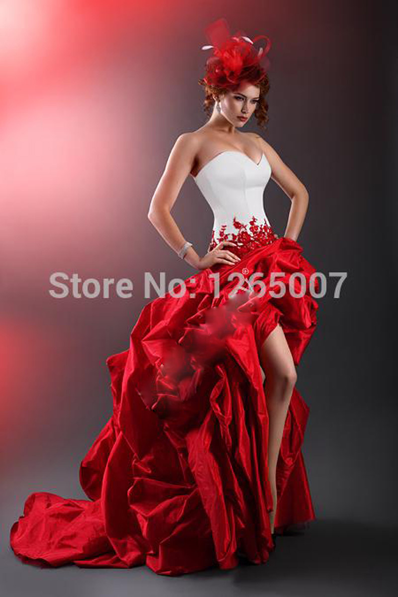 Online Get Cheap Red and White Short Front Long Back Wedding Dress ...