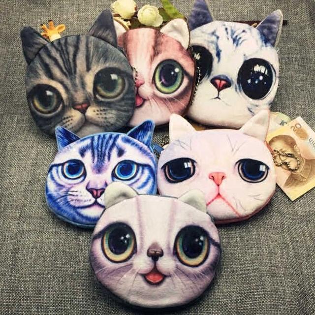 Новые дети мини-мило кот лицо молния чехол дети монет кошелек макияж карта сумка ...