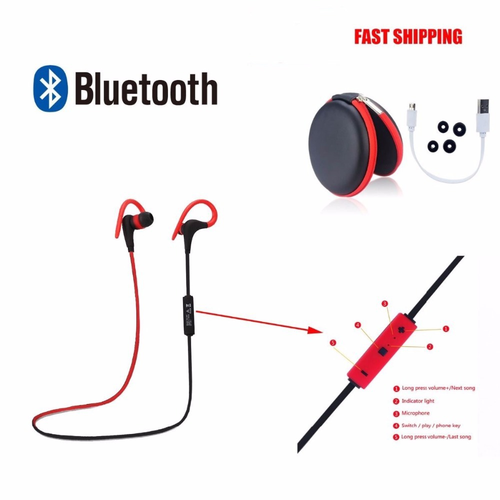 Wireless Bluetooth Headphone Bluetooth V4.1 Stereo Sports Running Earphone Handsfree In-ear Headset With Mic For iphone Samsung(China (Mainland))