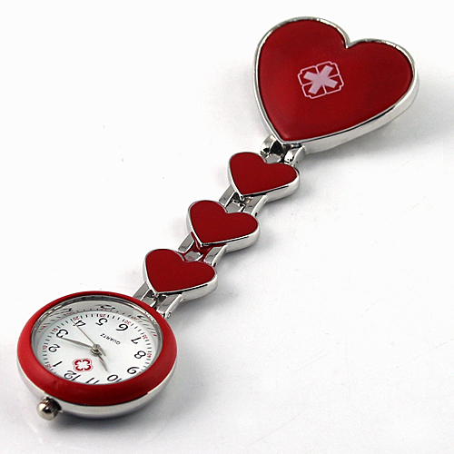 New Arrival 1PC Fashion Red Heart Red Cross Nurse Pocket Watches Pendant for Doctors Hospital Free