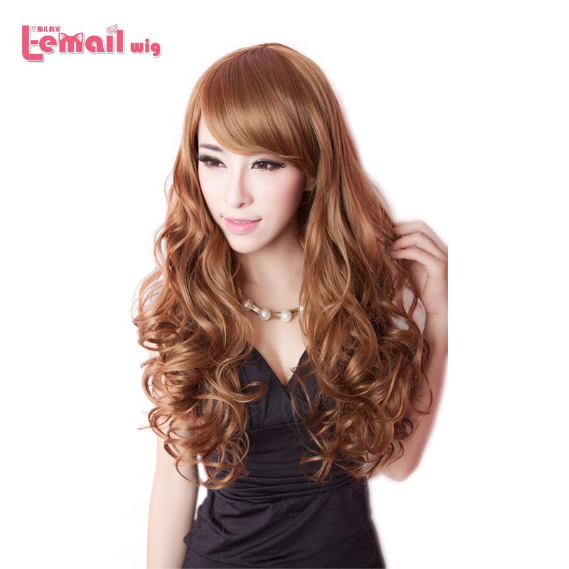 Hot Sale Women 60cm Black Brown Blonde Fashion Wig Female Wavy Cheap Synthetic Hair<br><br>Aliexpress