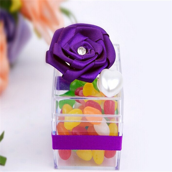 60 Pieces Luxury Purple Rose Ribbon Plastic Candy Boxes Wedding Accessory Event&Party Supplie For Wedding/Anniversary/Birthday(China (Mainland))