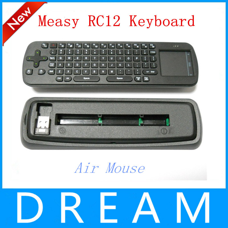 цена на Компьютерная клавиатура Measy 1pcs/lot RC12 2,4 Google Android /TV Box TV Stick RC12 Air mouse