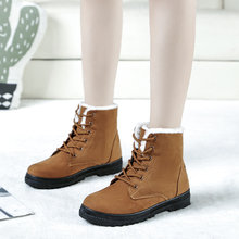 Kar botları 2019 klasik topuklu süet kadın kış botları sıcak kürk peluş Taban ayak bileği çizmeler kadın ayakkabıları sıcak dantel-up ayakkabı kadın(China)