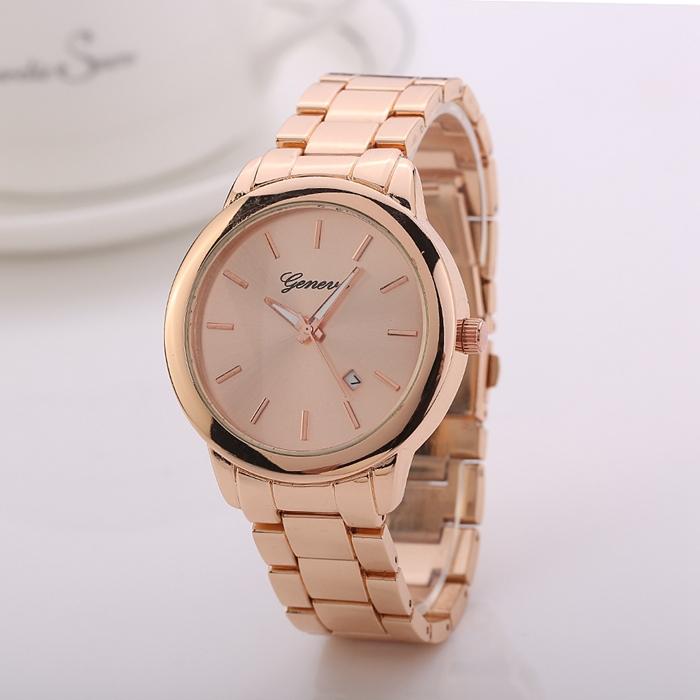 Fashion Geneva Women Dress Watch Men Gold Full Steel Wristwatch Geneva Brand Watches Ladies Watches Relogio
