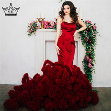 Buy Real Photo Luxury Croset Bodice Top Lace Cloud Mermaid Wedding Dress Burgundy Bridal Gowns Robe De Mariage Rouge 2017 for $191.75 in AliExpress store