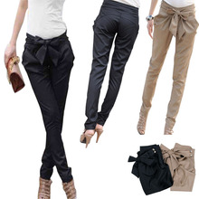 Onfine Leo High Quality Women Skinny Long Trousers OL Casual Bow Knot Harem Slim Comfy Pants Plus Size For Wholesales(China (Mainland))