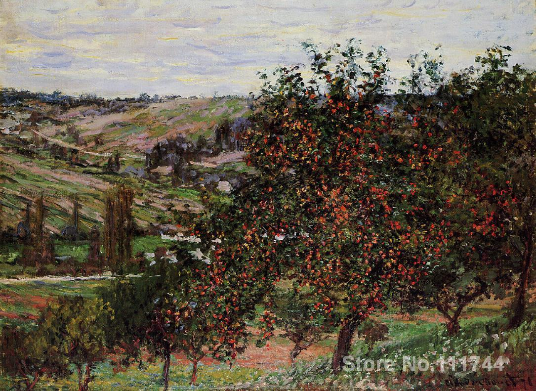 buy a painting,Apple Trees near Vetheuil-Claude Monet,home decor,High quality,Hand-painted(China (Mainland))