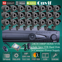 9TB HDD Onvif 24CH H.264 NVR Security CCTV System 1080P 2MP Zoom 2.8-12mm Lens 78IR Outdoor Video Surveillance Network IP Camera