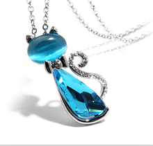 2015 18K Gold Plated Rhinestone Crystal Bow Lovely Cat Necklaces Pendants Fashion Jewelry for women K1111