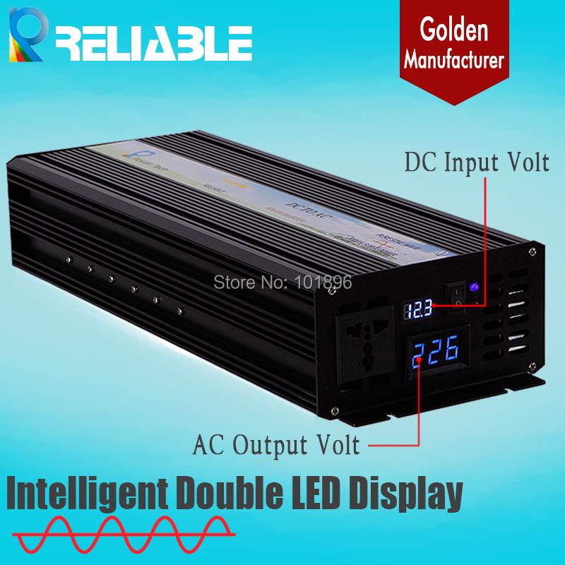 Double LED Display 2500w 12V/24V48V DC to 110V/220VAC 12v to 220v inverter 12v dc converter 2500w Pure Sine Wave Power Inverter(China (Mainland))