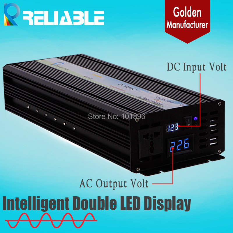 Double LED Display 2500w 12V/24V48V DC to 110V/220VAC 12v to 220v inverter 12v dc converter 2500w Pure Sine Wave Power Inverter(China (Mainland))