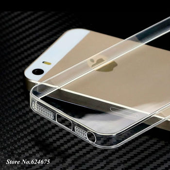 5 s 0.3mm Soft Silicon Case for iPhone 5 5s 5g apple Logo Clear Transparent Skin Silicone Cover Ultra Thin Mobile Phone Bag Case