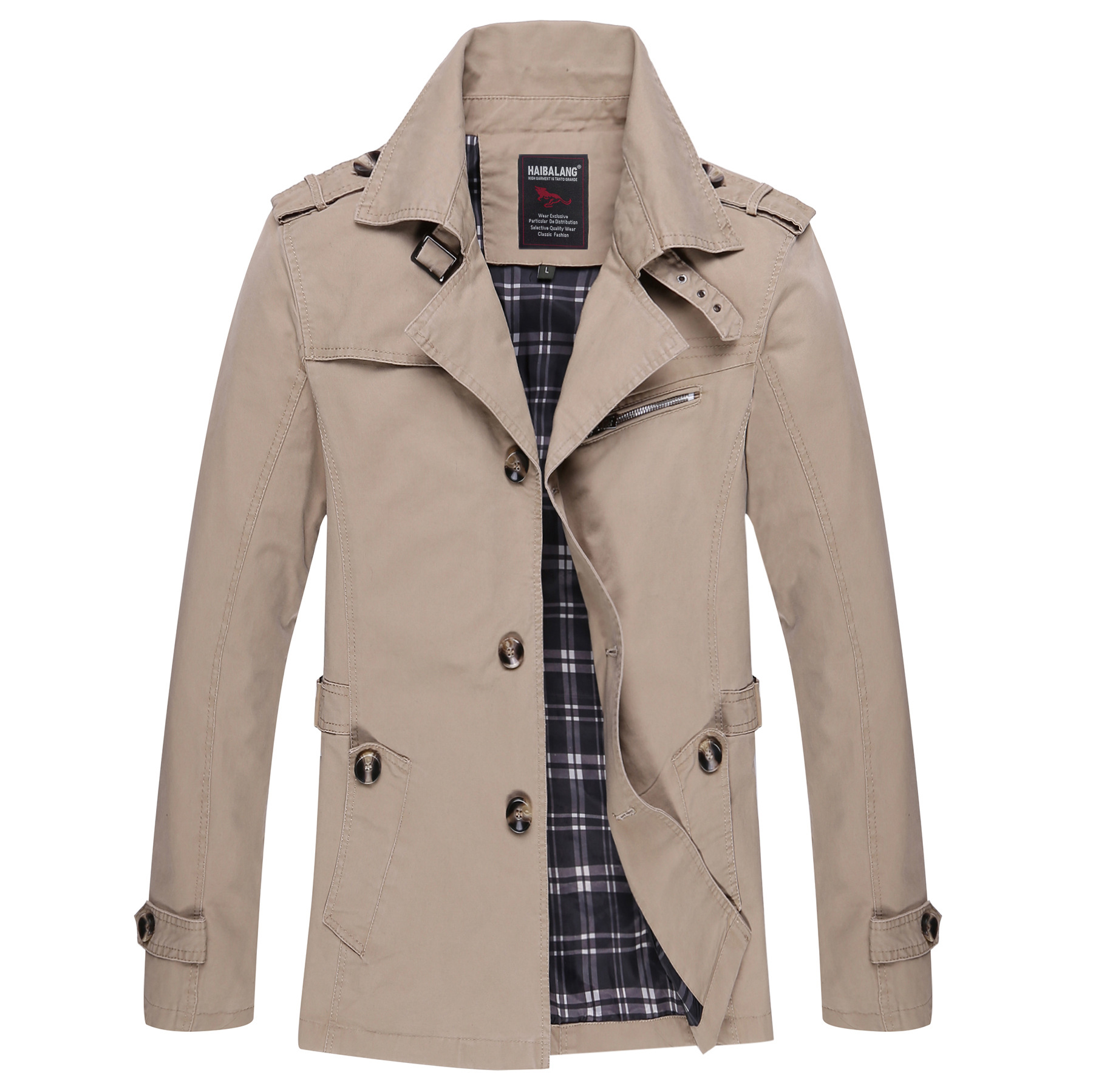 Large Size M-5XL Fall Spring Fashion Men's Cotton Outerwear Jacets. Brand Design Casual Leisure Man's Slim Trench Coats.(China (Mainland))