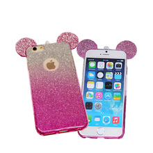 2016 New 3D Mickey Minnie Mouse Ears TPU Glitter Gradient Case For IPhone 6 6S Plus 5 5S Case Cover With Hang Rope Phone Cover(China (Mainland))
