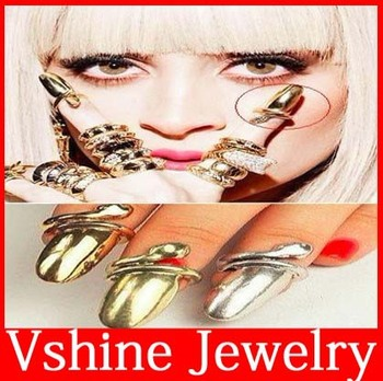 Antique Gold Silver Bronze Colors Fashion Punk Cool Finger Nail Polish Snake Design Ring Free Shipping 60pcs/lot