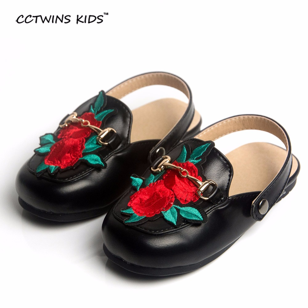 CCTWINS KIDS 2017 spring autumn fashion mules children flat PU leather baby girl slipper party boy black shoe kid slip on brand