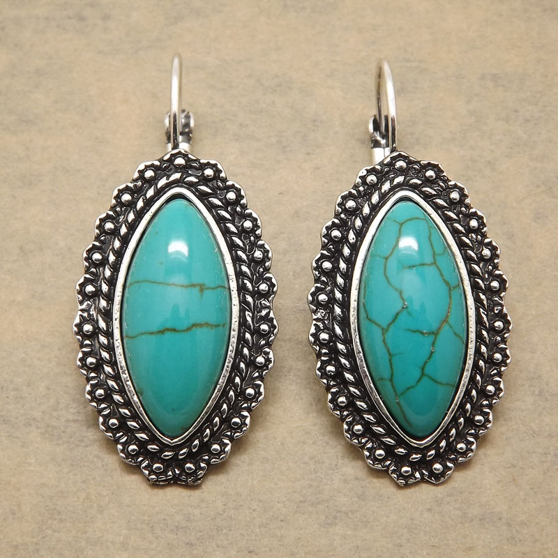 Buy vintage antique silver color oval for Turquoise colored fashion jewelry
