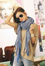 1PC 100*180cm bohemian style multi circle printed long retro cotton blend scarves/ WJ-186(China (Mainland))