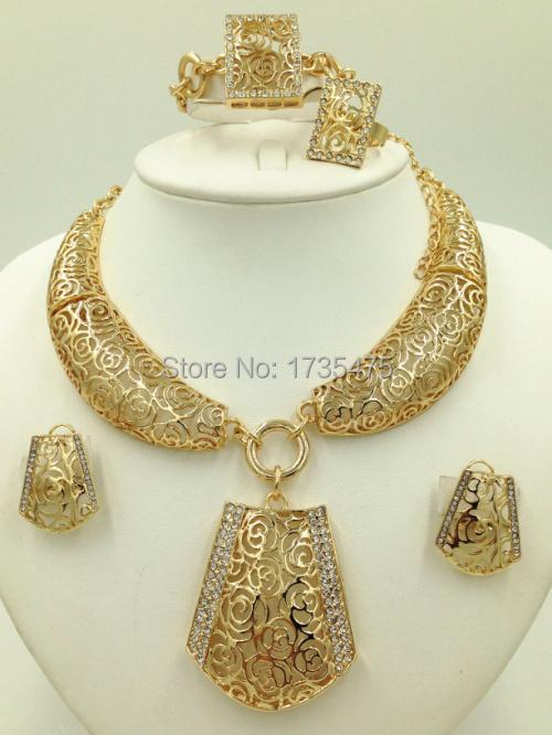 2015 New Nobler Dubai Design Fashion Costume Crystal Necklace Find Dubai Gold Plated Jewelry Sets Gorgeous Shining(China (Mainland))