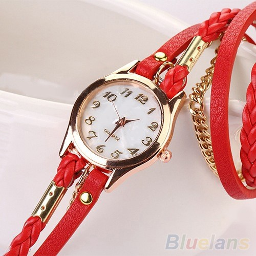 2014 New FAshion Hot Colorful  Vintage  women watches  Weave Wrap Rivet Leather Bracelet wristwatches watch 0WC4 C2K5W