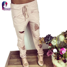 New 2016 gagaopt  Summer style Women Fashion Cotton Low Waist Slim Holes Ripped Washed Casual Ladies Long Pants high quality big(China (Mainland))