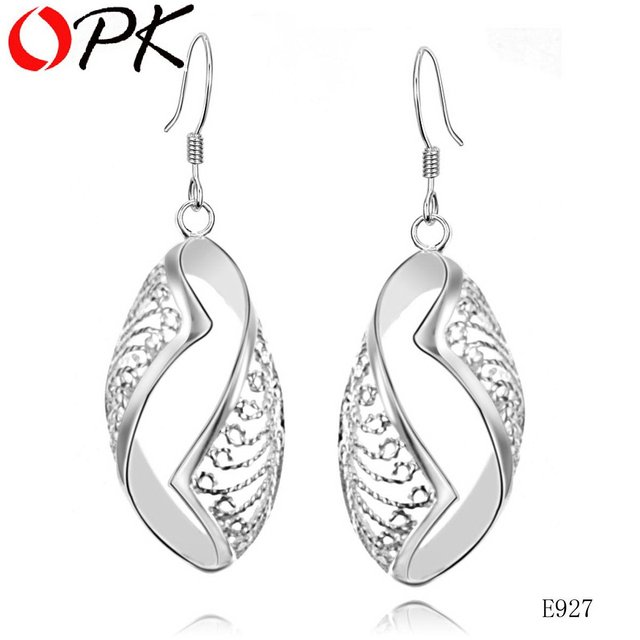 OPK JEWELRY 925 silver sterling earring wholesale price retail one PCS silver drop earring drop shipping shell shape 927