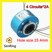 Through hole slip ring Senring manufacturer electrical connector 4 circuits signal of bore size 25.4mm