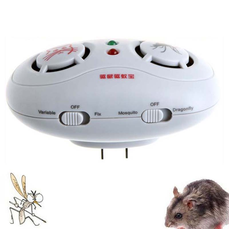 electric ultrasonic repeller mouse mosquito pest Indoor Double Speaker 2 in 1 Electronic Ultrasonic Mouse mice Mosquito Repeller(China (Mainland))