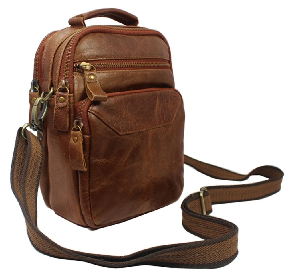 Multi-functional Fashion Genuine Leather Messenger Bag Men Leather crossbody Bag small Shoulder bag for Man Casual Bag Brown(China (Mainland))