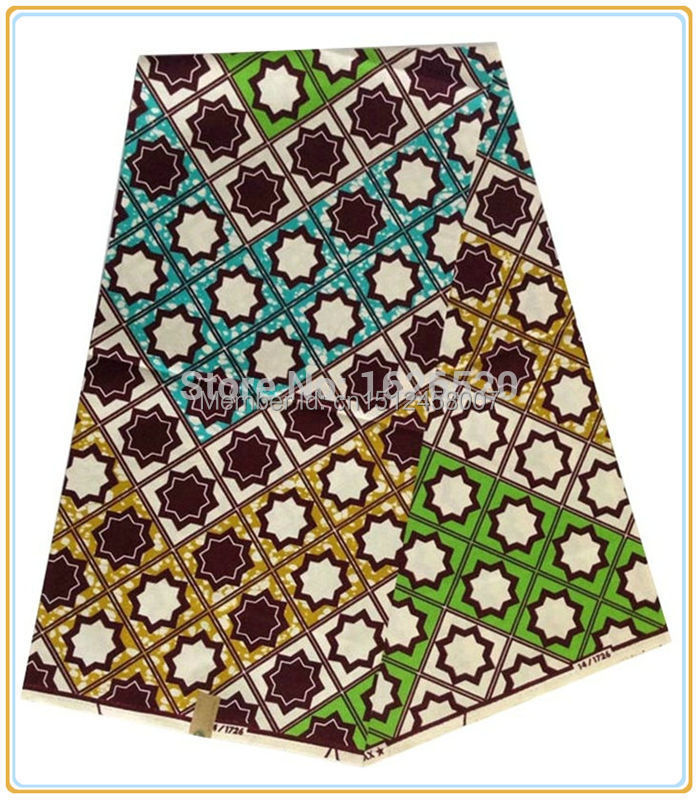 Hot sale faddish star and grid pattern design ankara for Patterned material for sale