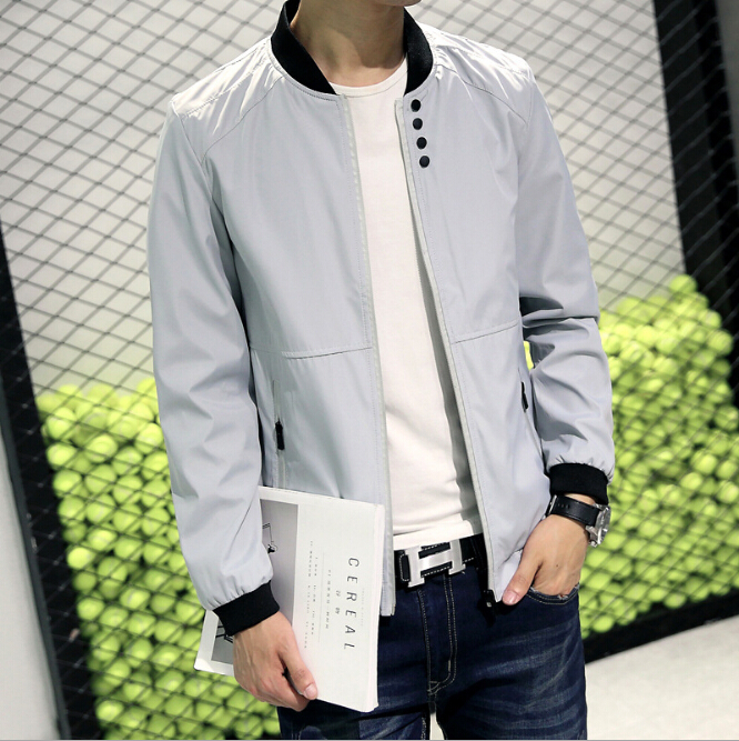 2016 Men Solid Color Casual Jacket Men's Spring Coat Mens Teenagers Stand Collar autumn Outerwear 4 Colors M-4XL(China (Mainland))