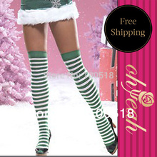 S9001 Cumpus style thigh high nylon stockings christmas style long stockings high quality new arrival striped winter stockings