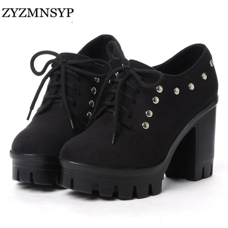 ZYZMNSYP Nubuck blue red black brown platform high heels women riding boots 2016 Winter fashion lace shoes botas feminina - ZTVI Store store