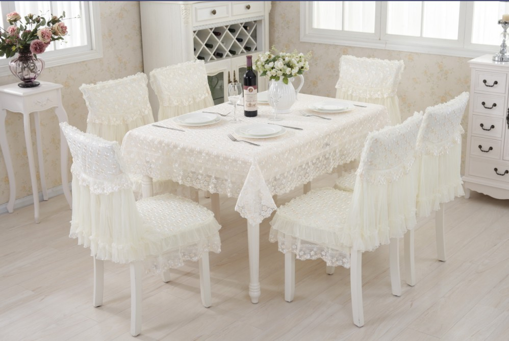 130x180cm lace polyester Tablecloth 6sets chair cover Dining Chair table Cover Set Home wedding Decor Table Cloth Home Textile