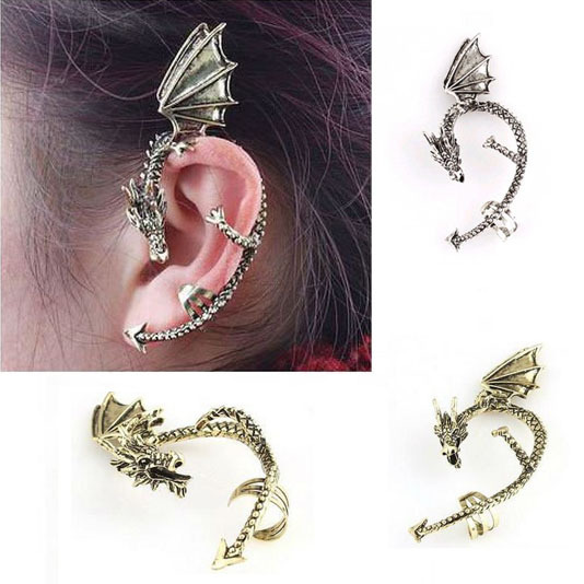 Retro Vintage Gothic Rock Punk Gold Silver Dragon Ear Cuff Earring Wrap Clip On Earrings Clip Clamp C9R5C(China (Mainland))