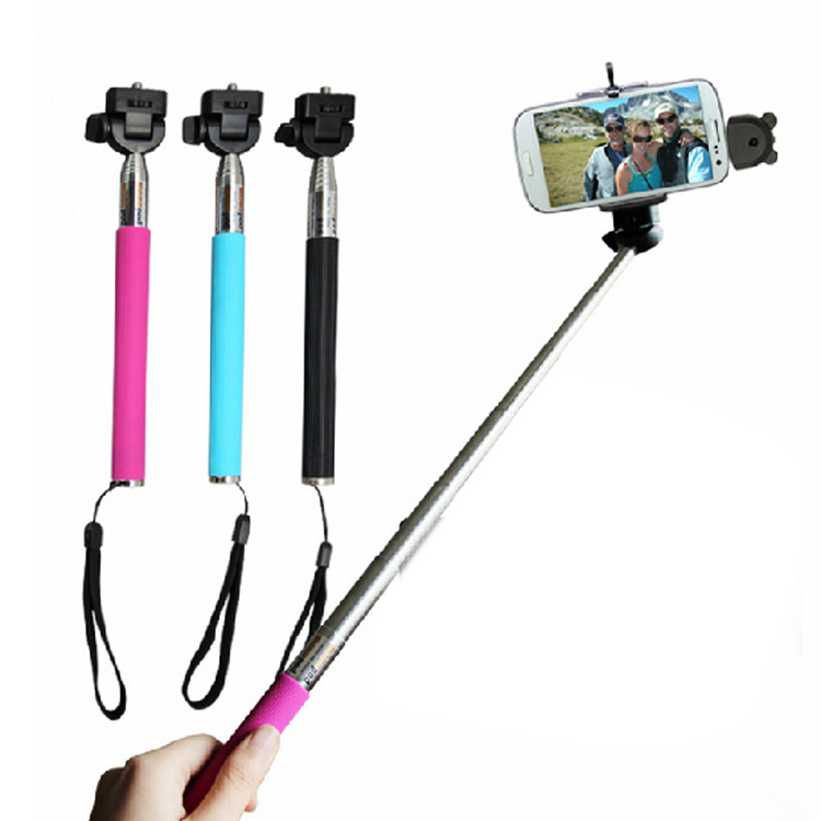 wired selfie stick handheld monopod built in shutter extendable mount holder for iphone. Black Bedroom Furniture Sets. Home Design Ideas