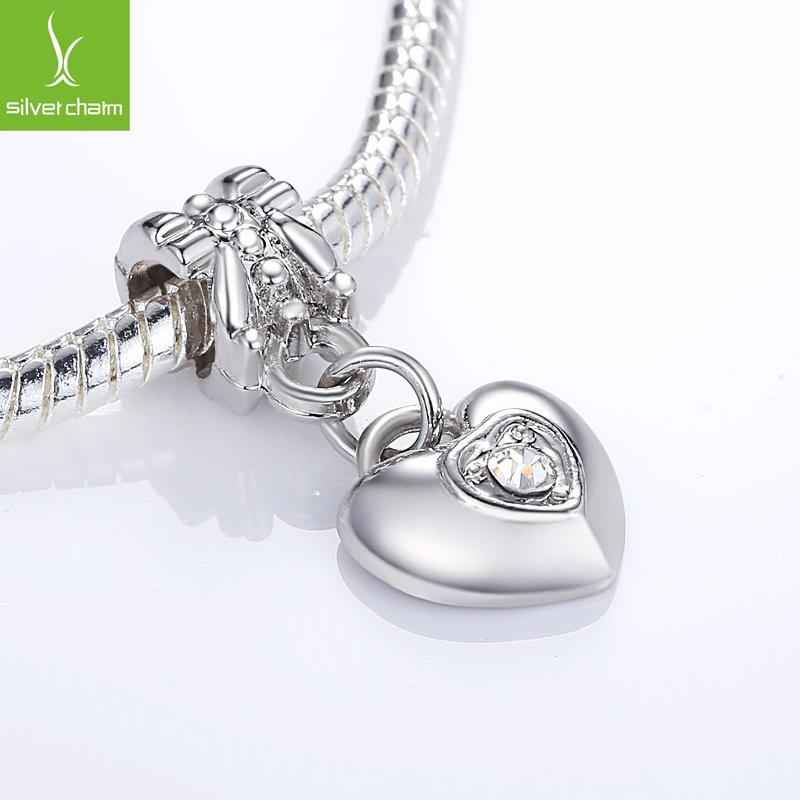 Alta qualidade prateado coração de cristal oscila charme Beads Fit Pandora Original pulseira pingentes para mulheres DIY jóias(China (Mainland))