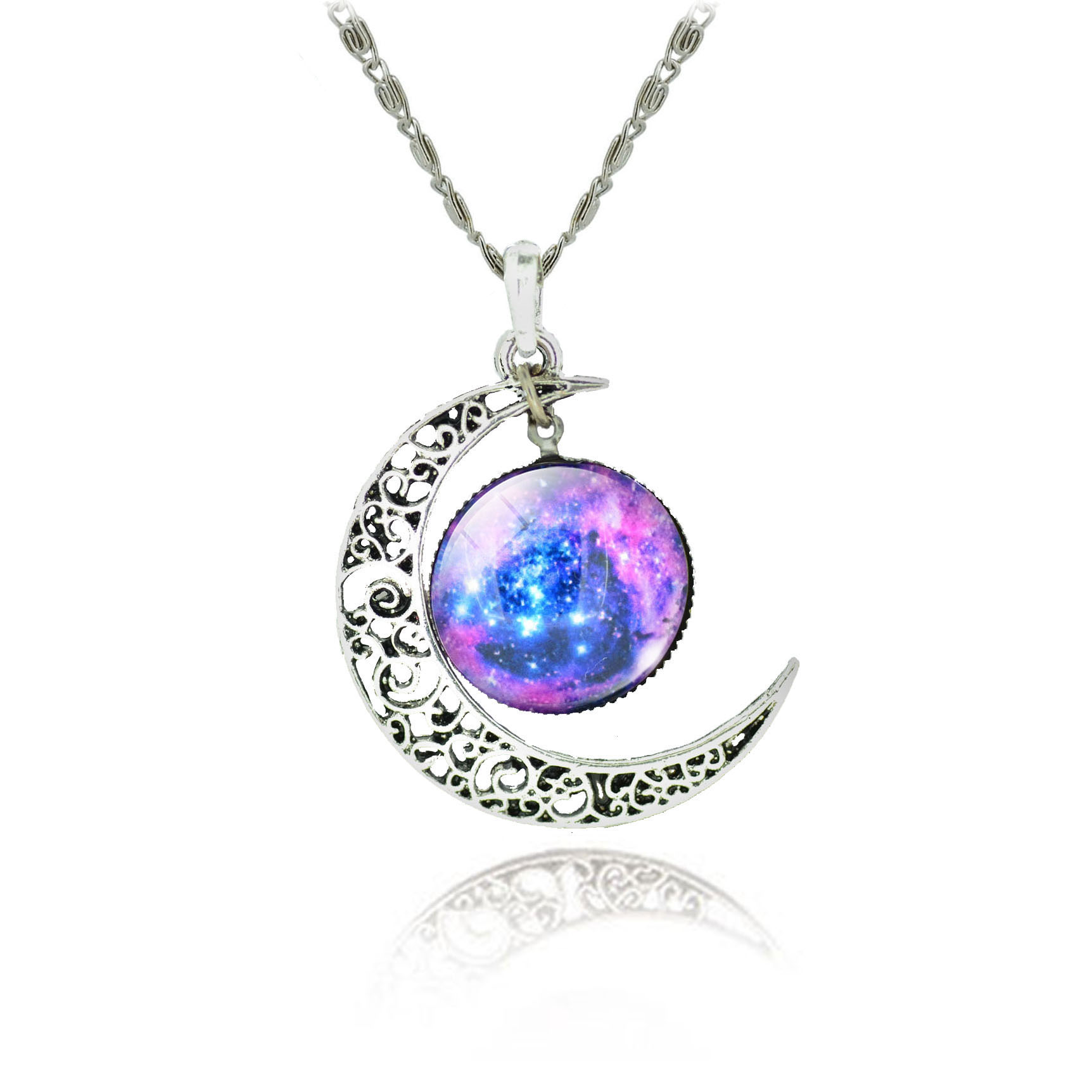 10 pcs/lot wholesale Silver Color Jewelry Fashion Moon Pendant Statement Necklace Glass Galaxy Collares Maxi Necklace for Women(China (Mainland))