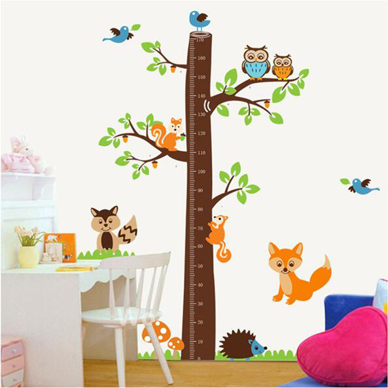 large cute height measure wall stickers for kids animal owl squirrel bird flower tree stickers. Black Bedroom Furniture Sets. Home Design Ideas
