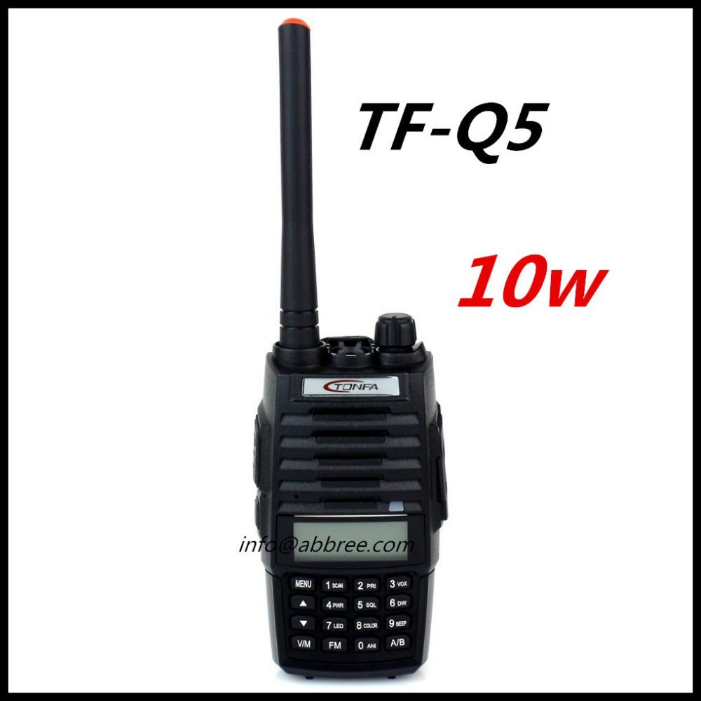 Free Shipping TONFA TF-Q5 Walkie Talkie Dual Band VHF+UHF 256 Memory Channel 10W FM Radio Flashlight VOX Scan 2 Way Radio TFQ5(China (Mainland))