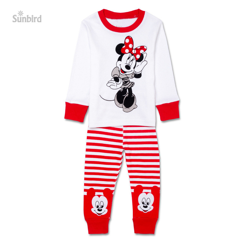 PC-34, 6sets, minnie, Children girls pajamas, long sleeve cartoon sleepwear clothing sets for 2-7T, 100% cotton rib<br><br>Aliexpress