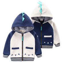 Children Outerwear Sweatshirts Cute Baby Dinosaur Hooded Sweater Jacket Baby Boys and Girls Hoodies For 3-8T Spring and Autumn(China (Mainland))
