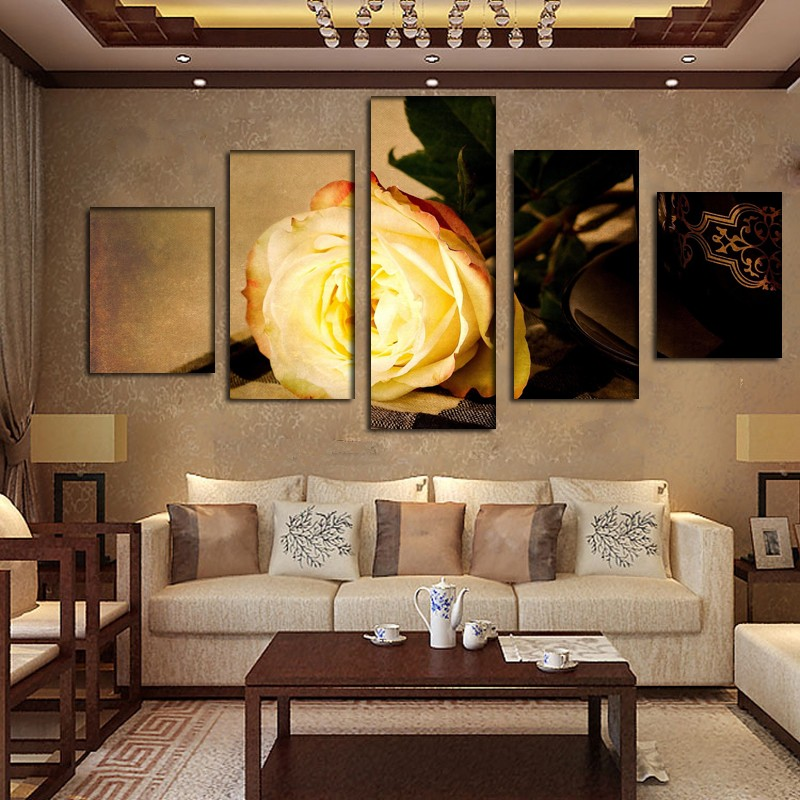 Fashion Gold Rose Flower Canvas Painting Pictures On The Wall Print Paintings Home Decor Canvas Wall Art Modular Photos No Frame
