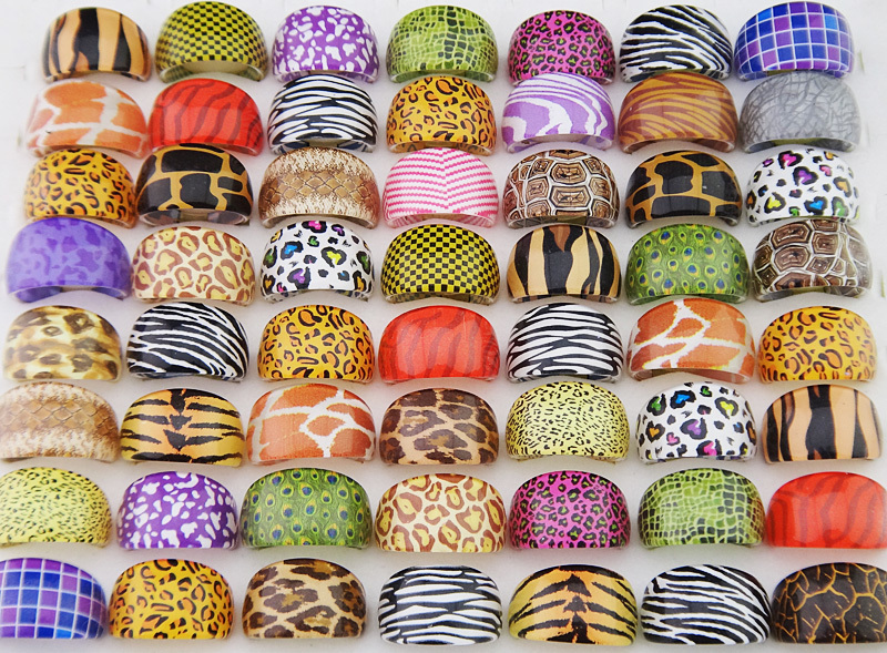 100pcs New wholesale jewelry mixed lots ring womens Fashion pattern lovely resin rings LR411 free shipping(China (Mainland))