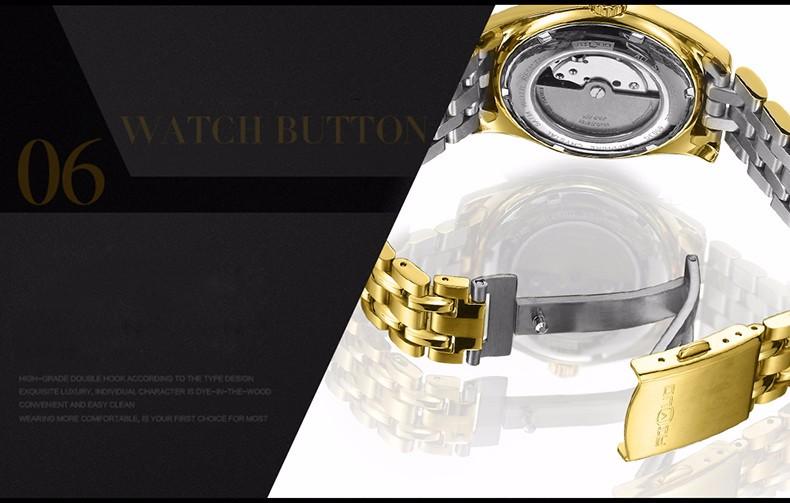 Бренд Роскошные Золотые Часы Мужчины Бизнес Причинная Автоматические Часы Сапфир Рубин Алмаз Календарь Наручные Часы Relogio