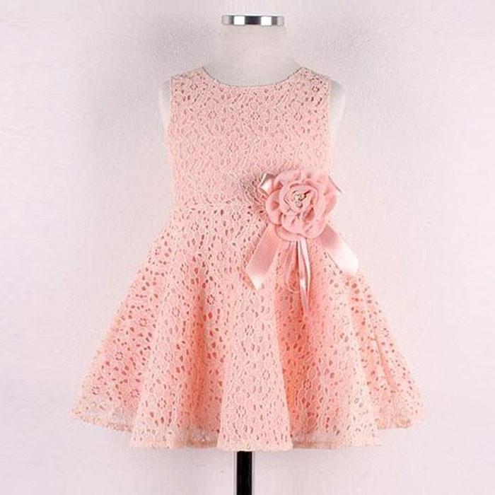 1PC Girls Kids Full Lace Floral One Piece Dress Child Princess Party Dress