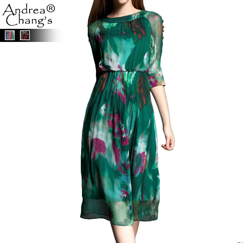 2015 spring summer designer women's dresses green brown red purple ink painting pattern print fashion casual brand silk dress(China (Mainland))