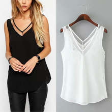 Free Shipping New Women V Neck Vest Top Blouse Slim Casual Sexy Tee Mesh Sleeveless Summer Hollow Loose T-Shirt