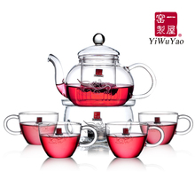 SET pot 4cups lampstand Heat resistant glass tea set set puer black tea flowers and kung